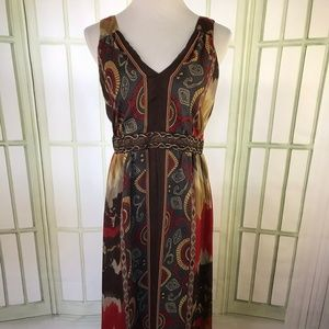 Reba Aztec Southwestern Midi Maxi Chiffon Dress
